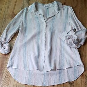 Bella Dahl pastel stripe, button front blouse.